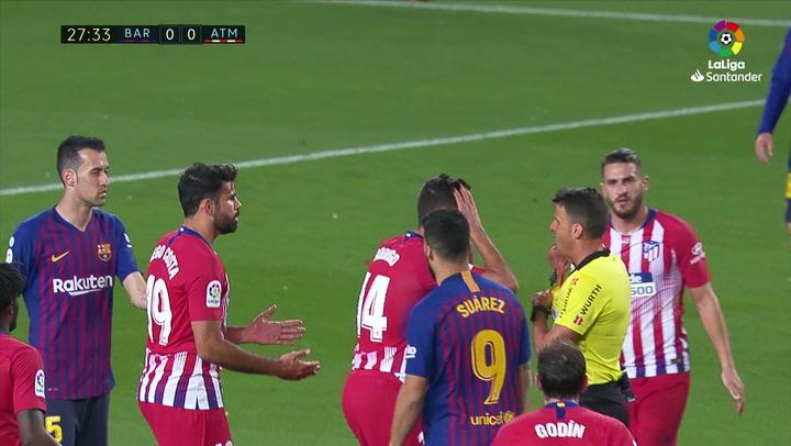 LaLiga: Barça - Atlético Madrid. Expulsión de Diego Costa con tarjeta roja directa en el minuto 27
