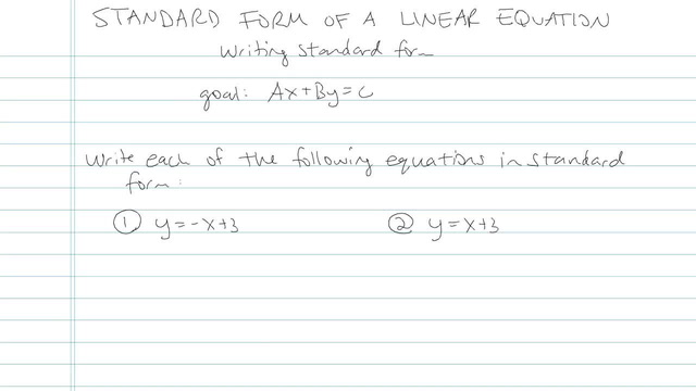 Standard Form of Linear Equations - Problem 5