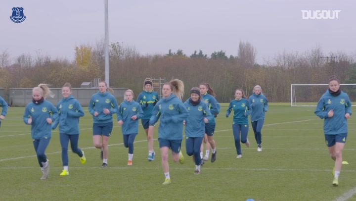 Everton Women train ahead of Chelsea