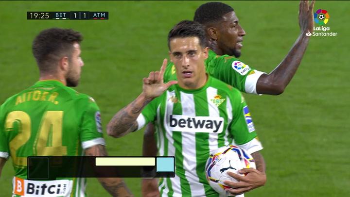 Gol de Tello (1-1) en el Betis 1-1 Atlético
