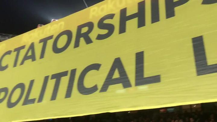 Así es la polémica pancarta que se mostró en el Camp Nou durante el partido ante el Inter