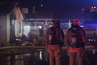 Garage catches fire in central valley