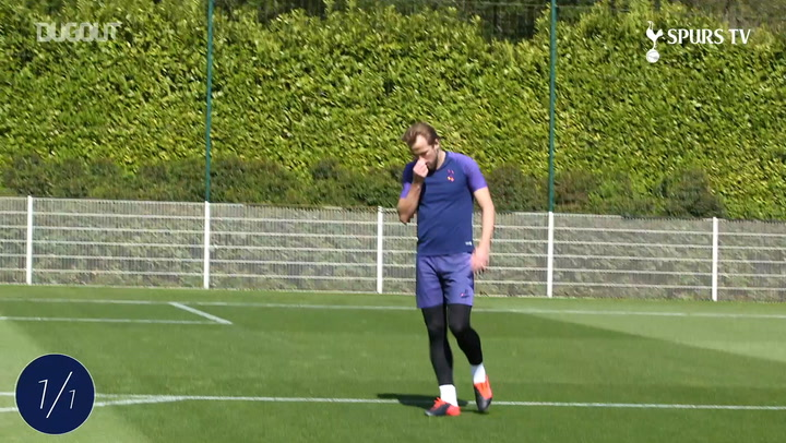 Harry Kane challenges Hugo Lloris in Spurs training return