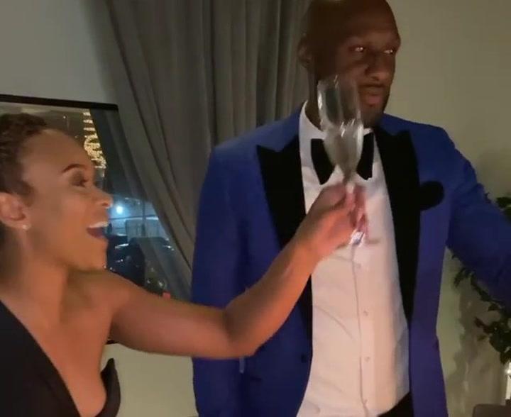 Lamar Odom celebró su cumpleaños con su prometida Sabrina Parr