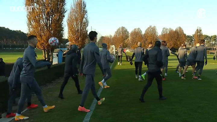 Inter's pre-match training session ahead of Real Madrid clash