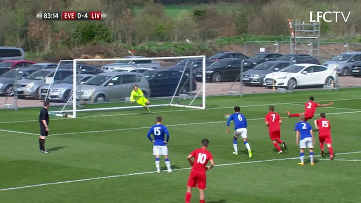 Trent Alexander-Arnold scores in the U18 Merseyside derby