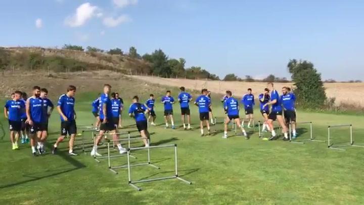 El Alavés entrenando de cara al derbi conta el Athletic