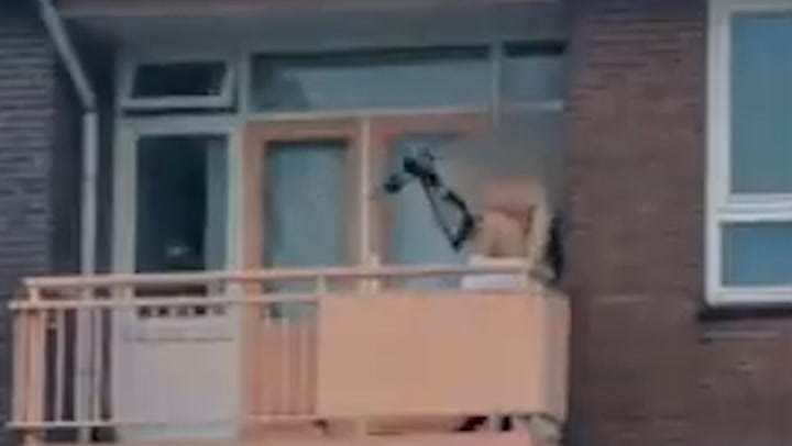 Almelo stabbing: Man seen pointing crossbow on balcony in Netherlands