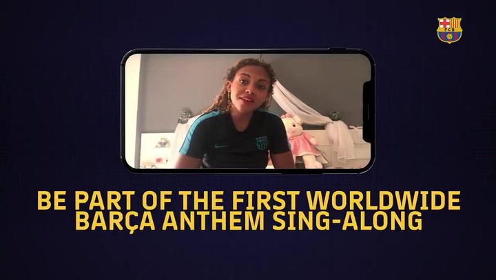 El Barça invita a sus aficionados a cantar el himno para el estadio