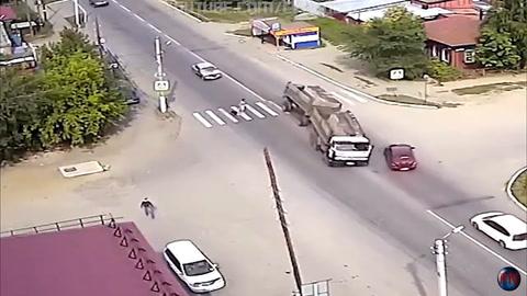 Un perro estuvo más atento que su dueña y la salvó de ser atropellada por un camión