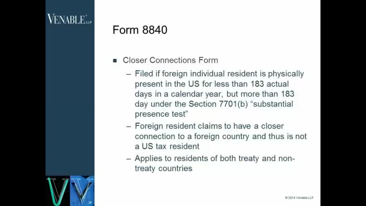 International Tax Forms- When to Use Form 8840 — Video | Lorman ...