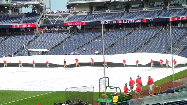 Baseball fans wait out heavy rains in hopes of seeing favorite players at MLB All-Star Game