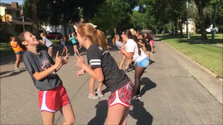 Street Dance: Cardettes tune-up for Grande Day Parade