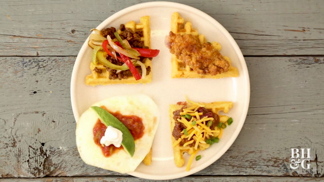 Savory Corn Waffles Four Ways