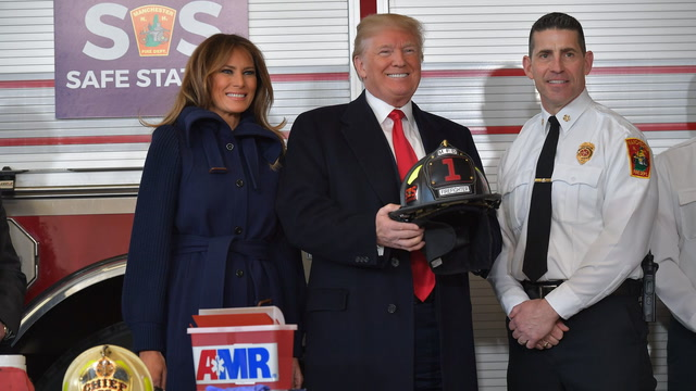 Trump visits New Hampshire firefighters