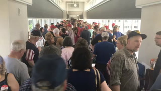 Time-lapse of skywalk line to see Trump rally