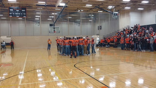 Morris/C-A football team leads school song at pepfest