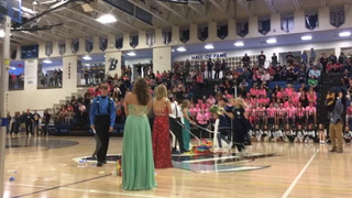 Makumba Esoe and Mattea Carlson were crowned Bemidji High School 2017 Homecoming King and Queen in a coronation ceremony Tuesday at BHS. The senior homecoming court also included Lauryn Petrich, Steven Dinnen, Makenna Quinn, Thor Solien, Sunny Werlein and Soren Dybing. (Jillian Gandsey | Bemidji Pioneer)