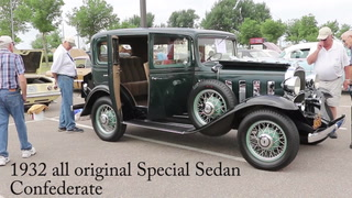 David Baker of Kenyon shows off his 1932 all-original Special Sedan Confederate at the Vintage Chevrolet Club of America car show in Worthington. After tracking the car for several years, Baker purchased it from an owner in California who had kept the car in storage, thus preserving its condition. The car club visited Worthington throughout the week; visit dglobe.com for additional photos and a video. (Tim Middagh/The Globe)