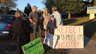 Outside the Oak Street Chapel before Usama Dakdok's presentation there was an exchange between a handful of protesters and individuals attending the event Thursday in Brainerd. Kelly Humphrey/Brainerd Dispatch