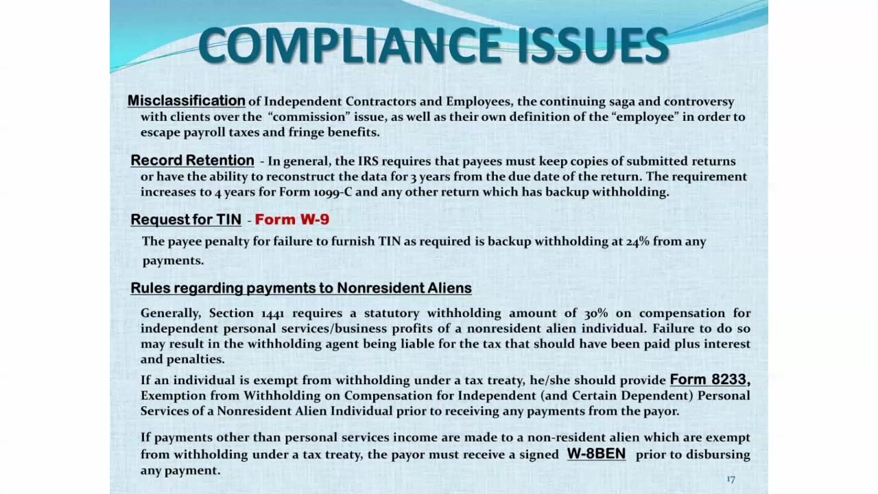 Form 1099 Compliance Issues Video Lorman Education Services