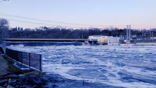 Minnesota River at Granite Falls dam on Thursday night