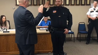 Morris Police Officer Kyle Brundage takes oath of office