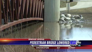Lindenwood pedestrian bridge lowered for use