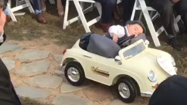 This Ring Bearer Fell Asleep on His Way Down the Aisle