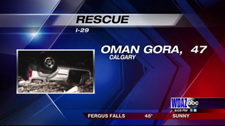 Oman Gora's vehicle ended up in two feet of water in a ditch off of Interstate 29 near Hillsboro late Monday night. Submitted photo