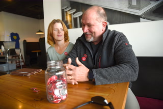"""The Goodness Coffee House gives out """"I Love Willmar"""" buttons in four different languages"""