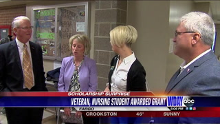 Air National Guard member, and NDSU student surprised with scholarship