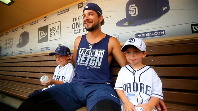 Padres fanatics, the Brummer brothers, get to meet their favorite players