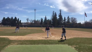 University of Jamestown's Grant Okawa delivers a two-run home run in the fourth inning of Saturday's opening game of a doubleheader against Morningside College at Jack Brown Stadium. The game included 10 homers, including a walk-off grand slam hit by UJ's Lincoln Trujillo. Michael Savaloja / The Sun