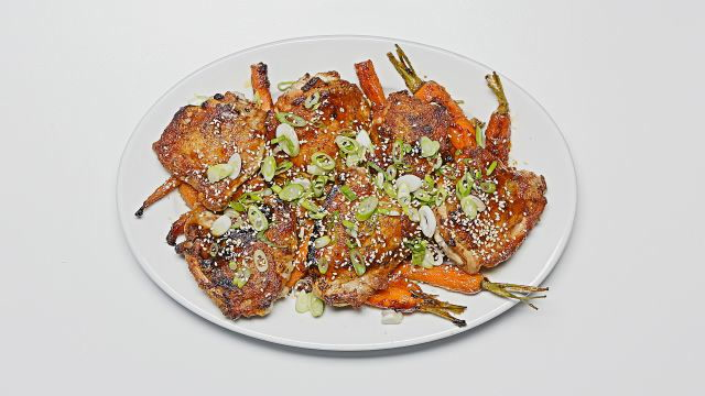 One-Skillet Roasted Sesame Chicken Thighs with Carrots