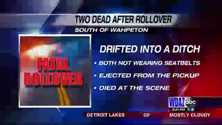 Man and woman die in rollover near Wahpeton