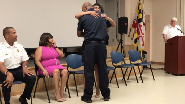 Crash victim reunited with Maryland firefighter who rescued her from car