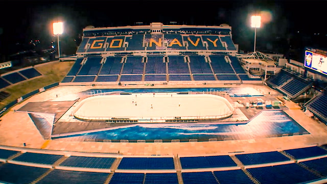 Time-lapse video of the Navy-Marine Corps Stadium ice rink