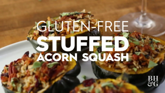 Gluten Free Wild Rice-Stuffed Acorn Squash With Cranberries and Pancetta
