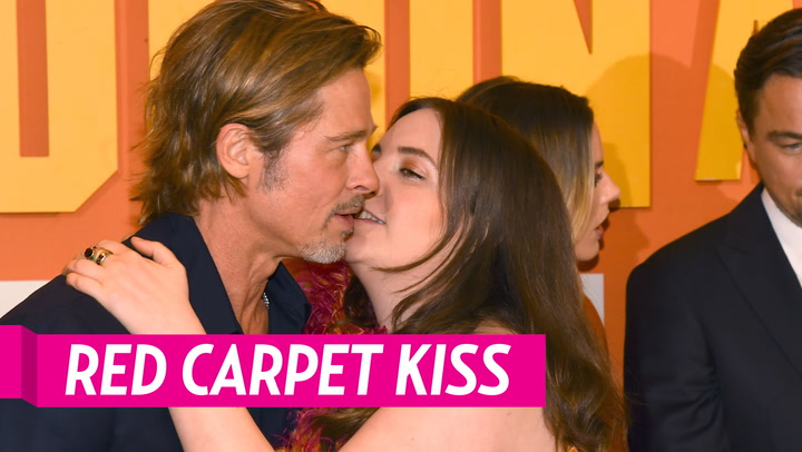 Lena Dunham Plants a Kiss on Brad Pitt at 'Once Upon a Time in Hollywood' Premiere