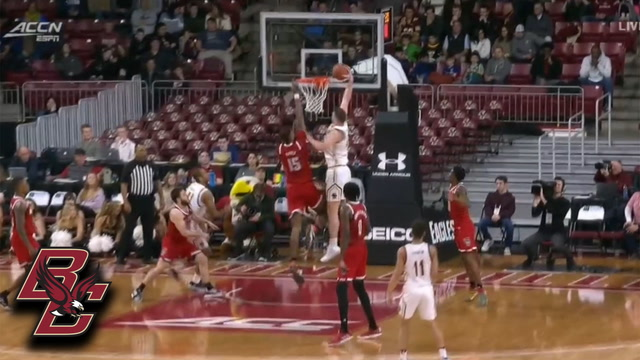 Boston College's Nic Popovic Drives Hard To The Hole