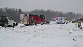 Emergency personnel work to free a 19-year-old man from his vehicle after it rolled into the east ditch of Highway 371 south of Brainerd Monday, Jan. 21. The Brainerd Fire Department extricated the man and he was transported to Essentia Health-St. Joseph's Medical Center with non-life-threatening injuries. Steve Kohls / Brainerd Dispatch  Video