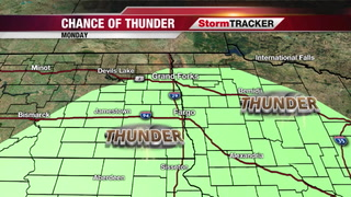 Thunder possible on Monday