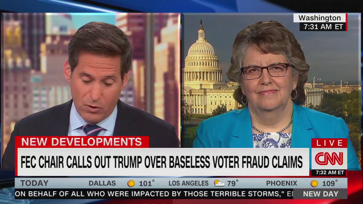 """That undermines our democracy"": FEC chair rebukes Trump's 2016 voter fraud claims"