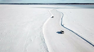 Driving on the ice road to Madeline Island