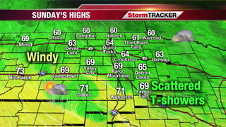 Scattered Showers & T-showers Sunday