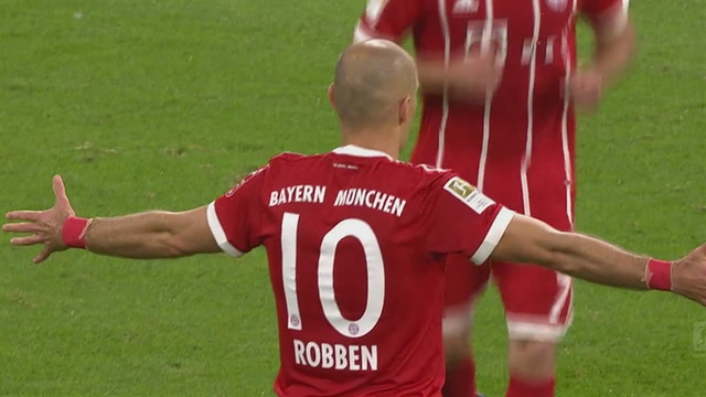 Arjen Robben extends Bayern lead to 2-0 | 2017-18 Bundesliga Highlights