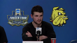 Minnesota Duluth addresses media after Frozen Four semifinal win