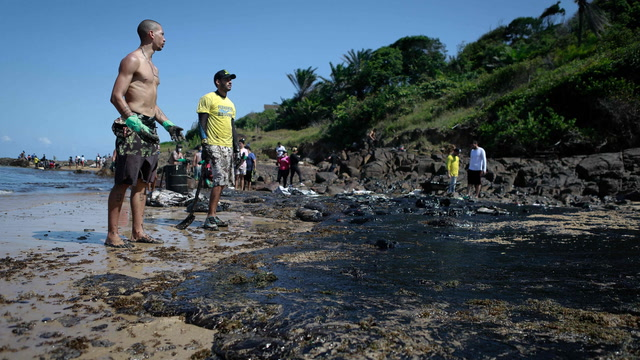 Brazilians clean up mystery oil spill by hand, demand government action