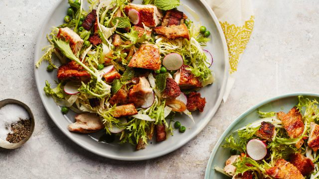 Spring Salad with Crispy Chicken and Bacony Crouton